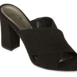 Women Black Size 8 Worthing Open Toe Mule Sandals